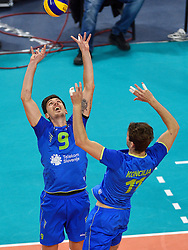 Dejan Vincic #9, Danijel Koncilja #11 during volleyball match between National teams of Poland and Slovenia in Quarterfinals of 2015 CEV Volleyball European Championship - Men, on October 14, 2015 in Arena Armeec, Sofia, Bulgaria. Photo by Ronald Hoogendoorn / Sportida