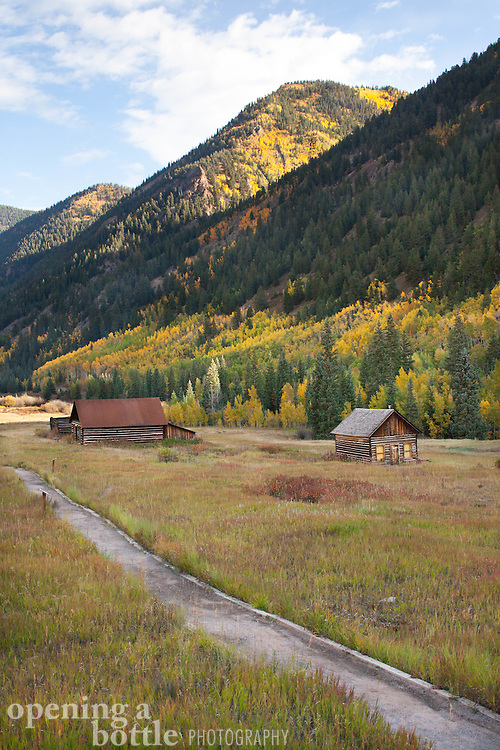 A path leads through the Ashcroft Historic Site, a ghost town located south of Aspen, Colorado.