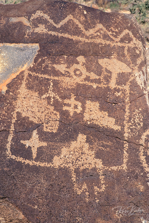 Petroglyphs of geometric shapes, Boca Negra Canyon, Petroglyph National Monument, Albuquerque, New Mexico
