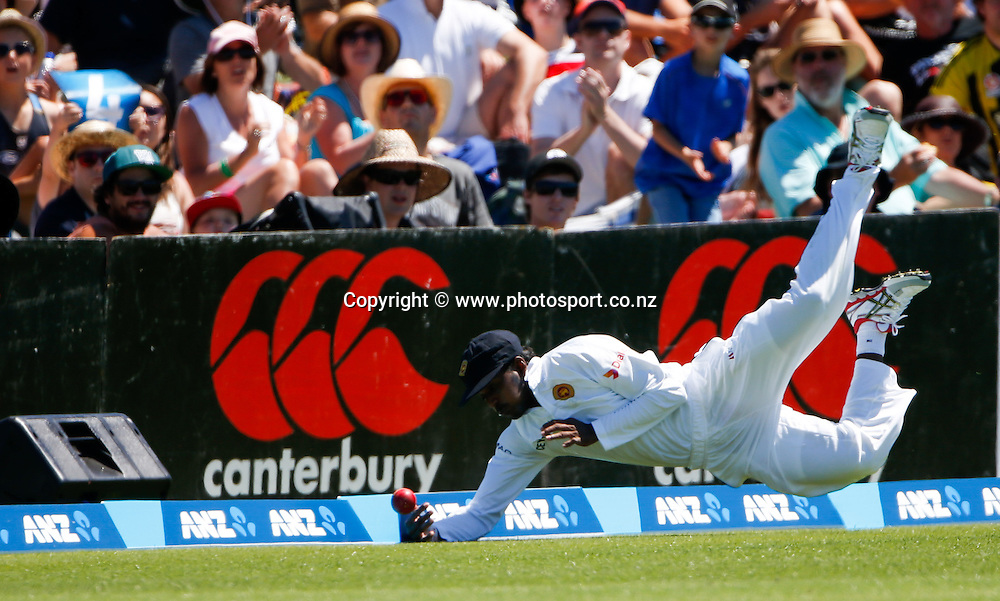 Sri Lanka's Tharindu Kaushai fields the ball on the boundary. First day, ANZ Boxing Day Cricket Test, New Zealand Black Caps v Sri Lanka, 26 December 2014, Hagley Oval, Christchurch, New Zealand. Photo: John Cowpland / photosport.co.nz