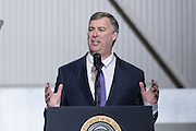 Boeing Commercial Aircraft CEO Kevin McAllister addresses employees during the rollout ceremony for the new Boeing 787-10 Dreamliner aircraft at the Boeing factory February 17, 2016 in North Charleston, SC. President Donald Trump was the keynote speaker at the event.
