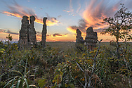 Felsformationen in der Chapada dos Guimaraes bei Sonnenuntergang, Brasilien<br /> <br /> Rock formations in the Chapada dos Guimaraes at sunset, Brazil