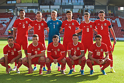 WREXHAM, WALES - Friday, September 6, 2019: Wales line up for a squad photo ahead of the UEFA Under-21 Championship Italy 2019 Qualifying Group 9 match between Wales and Belgium at the Racecourse Ground.Back row left-right: Benjamin Cabango, Rhys Norrington-Davies, goalkeeper George Ratcliffe, Jack Evans, Robbie Burton and captain Regan Poole. Front row left-right; John Mooney, Mark Harris, Liam Cullen, Cameron Coxe and Brennan Johnson (Pic by Laura Malkin/Propaganda)