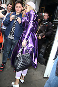 23.MAY.2013. LONDON<br /> <br /> RITA ORA WAS SPOTTED GREETING FANS OUTSIDE OF CAFE DE PARIS IN LONDON WEARING A METALLIC BURBERRY TRENCH COAT<br /> <br /> BYLINE: EDBIMAGEARCHIVE.CO.UK<br /> <br /> *THIS IMAGE IS STRICTLY FOR UK NEWSPAPERS AND MAGAZINES ONLY*<br /> *FOR WORLD WIDE SALES AND WEB USE PLEASE CONTACT EDBIMAGEARCHIVE - 0208 954 5968*