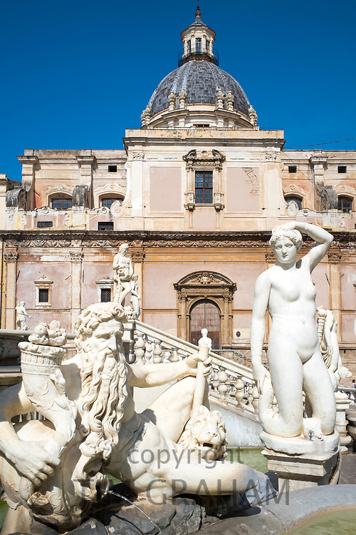 Famous Pretoria Fountain ( Fontana Pretoria ) and marble naked statues in Piazza Pretoria in centre of Palermo, Sicily, Italy