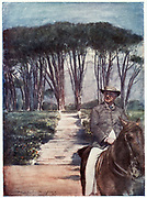 Cecil John Rhodes(1852-1902) English-born South African statesman. Rhodes riding in the grounds of Groote Schuur. From a painting.