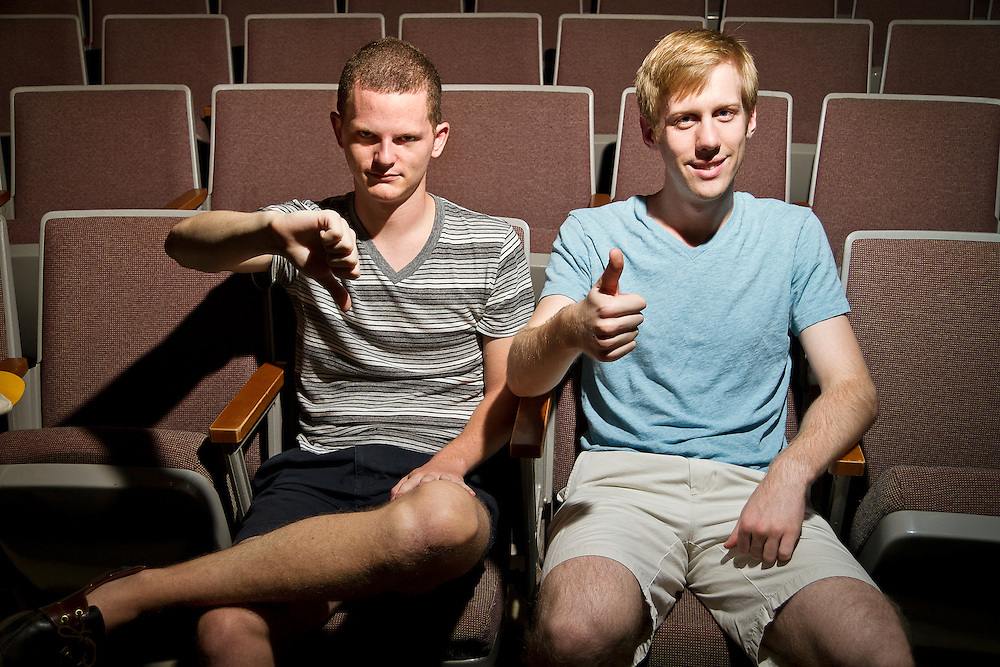 Phillp Brogdon and Corbin Eule (both '12) do a little movie reviewing of their own in the Harris Center Cinema on Sunday afternoon.