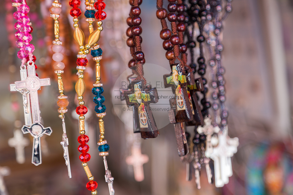 Religious icons and crucifixes for Mexican pilgrims and penitents at the tianguis at the Sanctuary of Atotonilco an important Catholic shrine in Atotonilco, Mexico.