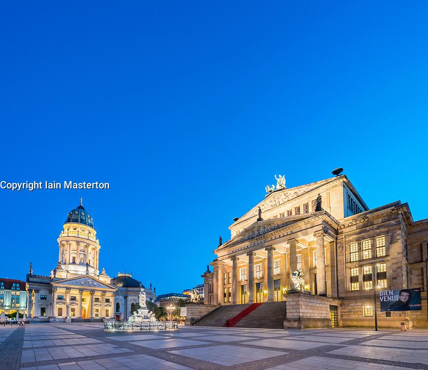 Deutsche Dom and Konzerthaus in  Gendarmenmarkt square in the evening in Mitte Berlin Germany