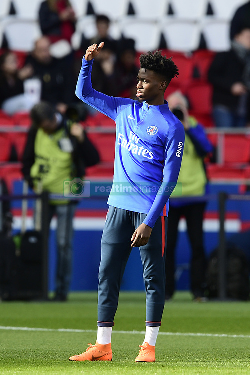 March 14, 2018 - Paris, France, France - echauffement des joueurs du PSG.Timothy Weah  (Credit Image: © Panoramic via ZUMA Press)