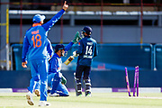India ODI wicket keeper MS Dhoni runs out England ODI batsman James Vince  during the 3rd Royal London ODI match between England and India at Headingley Stadium, Headingley, United Kingdom on 17 July 2018. Picture by Simon Davies.