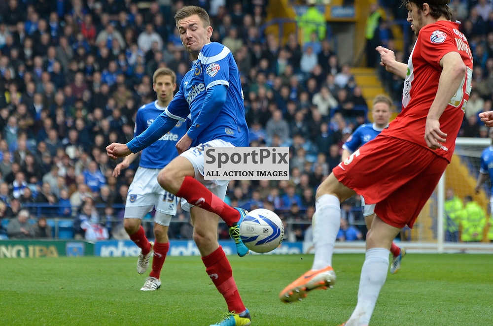Jed Wallace with the block, Portsmouth v Hartlepool, Skybet League Two, 5th April 2014. (c) Michael Hulf | SportPix.org.uk