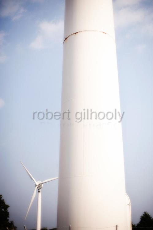 Photo shows wind turbines on Iki Island, Nagasaki Prefecture, Japan on April 1 2009.