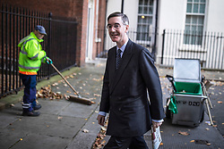 © Licensed to London News Pictures. 28/10/2019. London, UK. Leader of the House of Commons Jacob Rees-Mogg on Downing Street. MPs will vote today on whether to hold a general election in early December. Photo credit: Rob Pinney/LNP