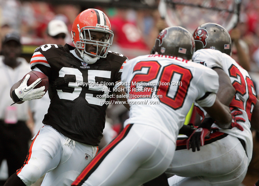 12 SEP 2010:  Jerome Harrison (35) of the Browns rushes the ball during the game between the Cleveland Browns and the Tampa Bay Buccaneers at Raymond James Stadium in Tampa, Florida.
