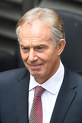 © Licensed to London News Pictures. 24/06/2016. London, UK. Former British prime minister TONY BLAIR seen leaving the same building that the VOTE LEAVE use for their campaign headquarters,  on the day that the UK voted to leave the EU in a referendum. Photo credit: Ben Cawthra/LNP