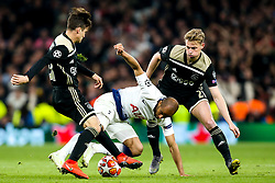 Lucas of Tottenham Hotspur takes on Nicolas Tagliafico and Frenkie de Jong of Ajax  - Mandatory by-line: Robbie Stephenson/JMP - 30/04/2019 - FOOTBALL - Tottenham Hotspur Stadium - London, England - Tottenham Hotspur v Ajax - UEFA Champions League Semi-Final 1st Leg