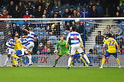 Goal - Jake Bidwell (3) of Queens Park Rangers scores a goal to make the score 2-1 during the The FA Cup 3rd round match between Queens Park Rangers and Leeds United at the Loftus Road Stadium, London, England on 6 January 2019.