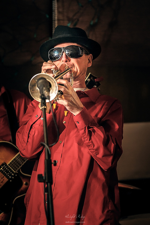 Rick Yensen on trumpet with Swing That Cat at The Bus Stop Music Cafe in Pitman, NJ.