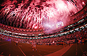 The San Francisco 49ers take the field after halftime during a fireworks display in honor of the San Diego Chargers 28th Annual Salute to the Military during the 2016 NFL preseason football game on Thursday, Sept. 1, 2016 in San Diego. The 49ers won the game 31-21. (©Paul Anthony Spinelli)