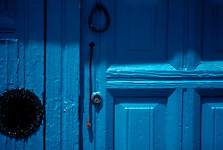 A blue doorway in Santa Fe, New Mexico.
