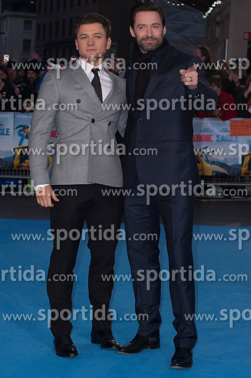 Hugh Jackman and Taron Egerton attends the European premiere for &quot;Eddie the Eagle at Odeon Leicester Square in London, 17.03.2016. EXPA Pictures &copy; 2016, PhotoCredit: EXPA/ Photoshot/ Euan Cherry<br /> <br /> *****ATTENTION - for AUT, SLO, CRO, SRB, BIH, MAZ, SUI only*****
