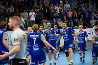 2019-04-23 | Jönköping, Sweden: IF Hallby HK celebrates the win after the qualifying game 4 to Swedish Handball League between IF Hallby HK and HIF Karlskrona at Idrottshuset ( Photo by: Marcus Vilson | Swe Press Photo )<br /> <br /> Keywords: Idrottshuset, Jönköping, Handball, Qualifying Game 4, IF Hallby HK, HIF Karlskrona, Sport