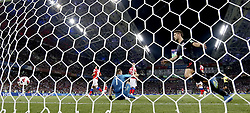 SOCHI, July 7, 2018  Andrej Kramaric (R front) of Croatia celebrates scoring during the 2018 FIFA World Cup quarter-final match between Russia and Croatia in Sochi, Russia, July 7, 2018. Croatia won 6-5 (4-3 in penalty shootout) and advanced to the semi-finals. (Credit Image: © Cao Can/Xinhua via ZUMA Wire)