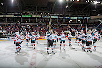 KELOWNA, CANADA - MARCH 4: The Kelowna Rockets celebrate the win against the Tri-City Americans on March 4, 2017 at Prospera Place in Kelowna, British Columbia, Canada.  (Photo by Marissa Baecker/Shoot the Breeze)  *** Local Caption ***