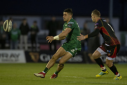 November 3, 2018 - Galway, Ireland - Tiernan O'Halloran of Connacht and Jason Tovey of Dragons during the Guinness PRO14 match between Connacht Rugby and Dragons at the Sportsground in Galway, Ireland on November 3, 2018  (Credit Image: © Andrew Surma/NurPhoto via ZUMA Press)