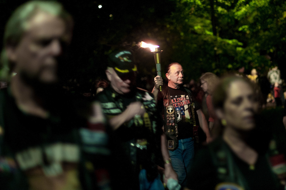 Rolling Thunder's Memorial Day weekend commemoration ceremonies began in Washington, D.C., with the candlelight vigil where Gold Star mothers are escorted along the Vietnam Veterans Memorial. Gold Star mothers are those who have experienced the loss of a family member during combat. Rolling Thunder Inc. is a non-profit organization which is dedicated to the search of American soldiers who are prisoners of war or missing in action. Rolling Thunder was established in 1987.