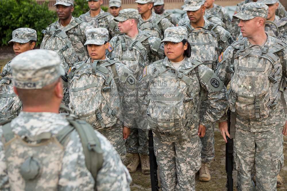 Women Drill Sergeant candidates at the US Army Drill Instructors School Fort Jackson stand at attention September 26, 2013 in Columbia, SC. While 14 percent of the Army is women soldiers there is a shortage of female Drill Sergeants.