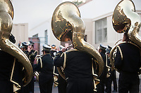 Back view musical group playing sousaphone