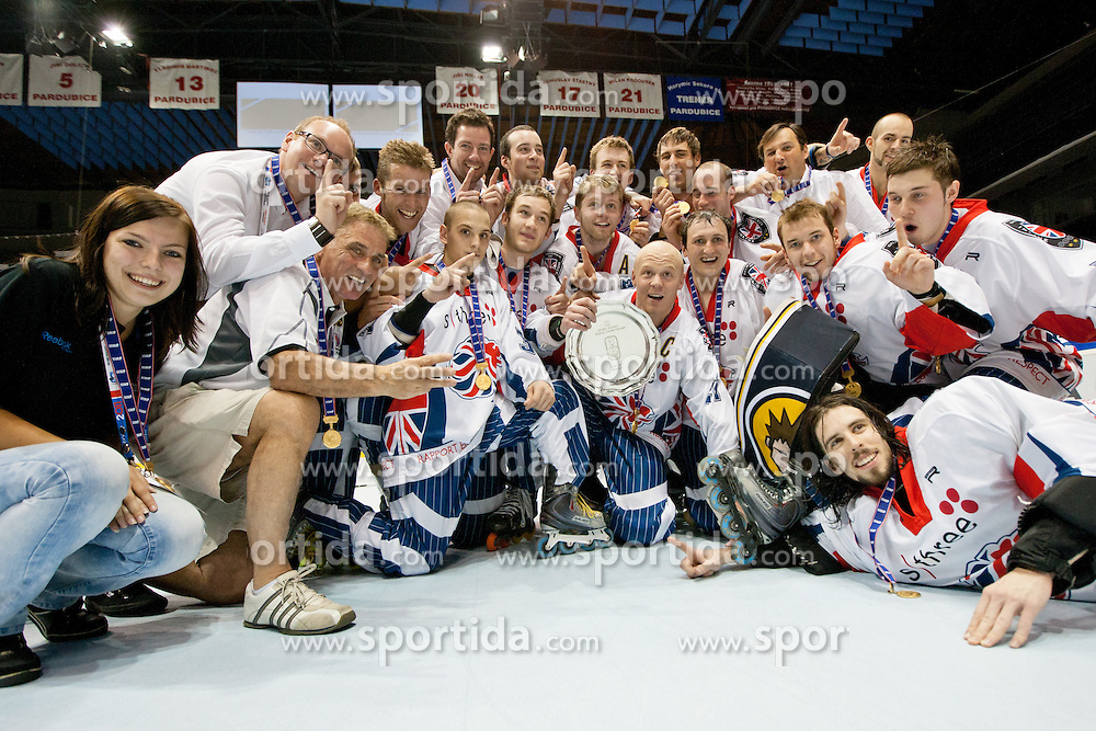 Team Great Britain celebrating victory and advancing to Top Division at IIHF In-Line Hockey World Championships 2011 Division 1 Gold medal game between National teams of Great Britain and Hungary on June 25, 2011, in Pardubice, Czech Republic. Great Britain won Hungary 3:2 (Photo by Matic Klansek Velej / Sportida)