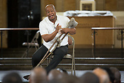 "Musa Ngqungwana performs the role of Porgy at Attica Correctional Facility in Attica, New York on Tuesday, July 25, 2017. The Glimmerglass Festival, an opera company in Cooperstown, New York, performed songs from George Gershwin's ""Porgy and Bess"" for inmates."