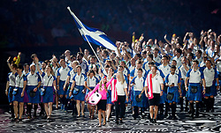 Scotland's flag bearer Eilidh Doyle leads the team out during the Opening Ceremony for the 2018 Commonwealth Games at the Carrara Stadium in the Gold Coast, Australia.