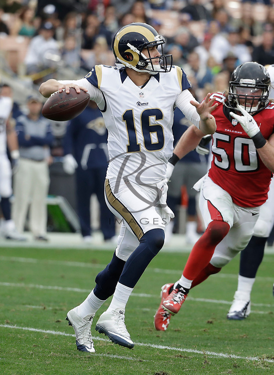 Los Angeles Rams quarterback Jared Goff (16) during the first half of an NFL football game against the Atlanta Falcons, Sunday, Dec. 11, 2016, in Los Angeles. (AP Photo/Rick Scuteri)