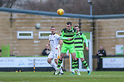 Forest Green Rovers Lee Collins(5) heads the ball clear during the EFL Sky Bet League 2 match between Forest Green Rovers and Port Vale at the New Lawn, Forest Green, United Kingdom on 6 January 2018. Photo by Shane Healey.