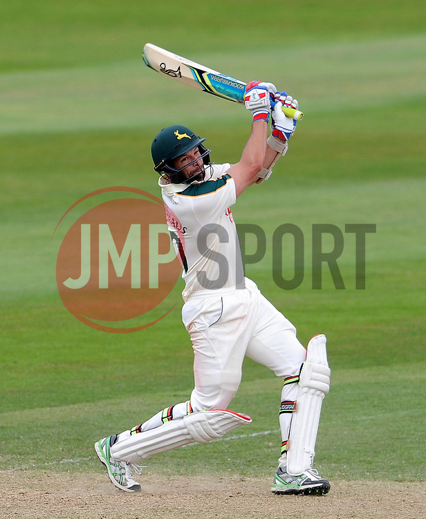 Nottinghamshire's Ben Hilfenhaus smashes the ball. - Photo mandatory by-line: Harry Trump/JMP - Mobile: 07966 386802 - 16/06/15 - SPORT - CRICKET - LVCC County Championship - Division One - Day Three - Somerset v Nottinghamshire - The County Ground, Taunton, England.