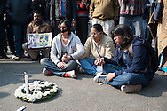 29th Dec. 2012. Three women interlock hands as they take part in a vigil in Jantar Mantar, New Delhi. Earlier that day news broke of the death of a victim of gang-rape.