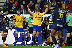 Sam Nixon of Bath Rugby celebrates a try from team-mate Josh Bayliss - Mandatory byline: Patrick Khachfe/JMP - 07966 386802 - 15/12/2019 - RUGBY UNION - Stade Marcel-Michelin - Clermont-Ferrand, France - Clermont Auvergne v Bath Rugby - Heineken Champions Cup