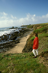 CA: Pigeon Point, California, lighthouse, model released, 2005 .Image: capigeon110..Photo Copyright: Lee Foster, lee@fostertravel.com, www.fostertravel.com, (510) 549-2202.