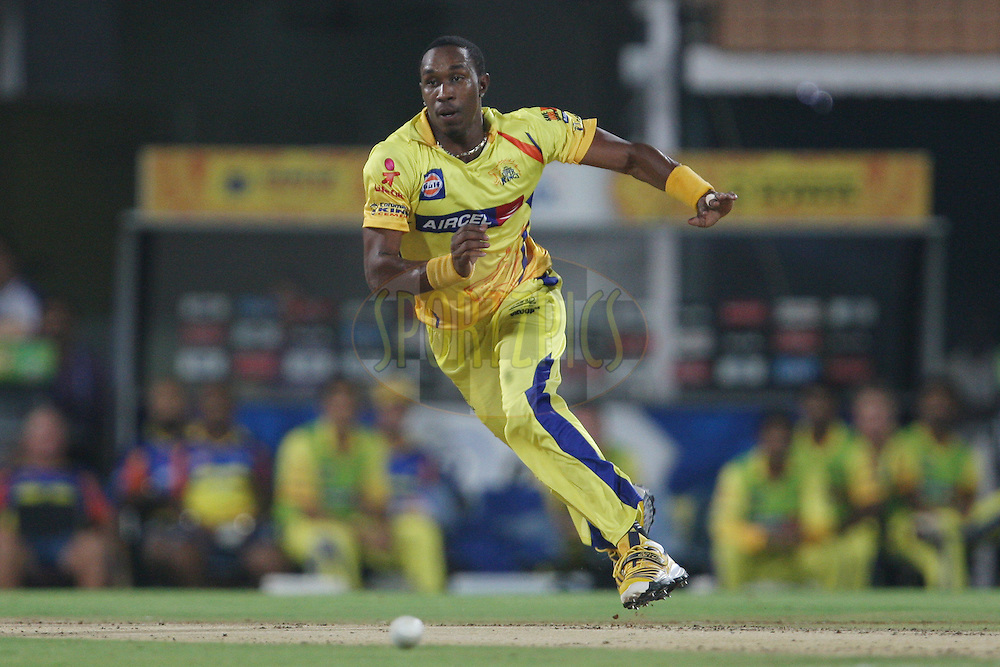 Dwayne Bravo during match 59 of the the Indian Premier League ( IPL) 2012  between The Chennai Superkings and the Delhi Daredevils held at the M. A. Chidambaram Stadium, Chennai on the 12th May 2012..Photo by Jacques Rossouw/IPL/SPORTZPICS