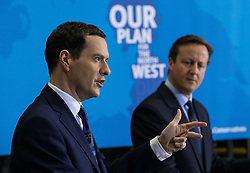 © Licensed to London News Pictures . FILE PICTURE DATED 20/04/2015 of George Osborne and David Cameron at a train shed in Crewe , UK , during the Conservative Party's election campaign as the government has today ( 25th June 2015 ) announced the cancellation of several major rail upgrade across the north of England . Photo credit : Joel Goodman/LNP