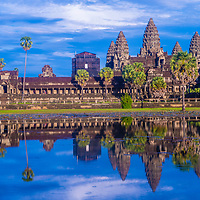 SIEM REAP , CAMBODIA - OCT 17 : The Angkor Wat Temple in Siem Reap Cambodia on October 17 2017 , The Angkor Wat is an UNESCO World Herutage site since 1992