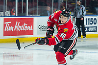 KELOWNA, BC - FEBRUARY 8: Simon Knak #36 of the Portland Winterhawks warms up with a shot on net at the Kelowna Rockets at Prospera Place on February 8, 2020 in Kelowna, Canada. (Photo by Marissa Baecker/Shoot the Breeze)