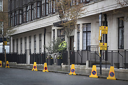 © Licensed to London News Pictures. 08/04/2018. London, UK. Traffic restrictions are in place outside as The Duke of Edinburgh spends a 5th day in the King Edward VII Hospital as he recovers from a hip operation. Photo credit: Peter Macdiarmid/LNP