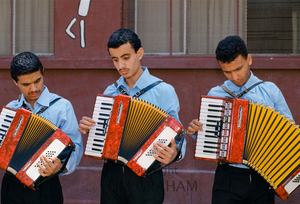 Musicians playing accordians in Egypt, North Africa