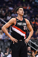 Oct 11, 2017; Phoenix, AZ, USA; Portland Trail Blazers center Zach Collins (33) reacts on the court against the Phoenix Suns in the first half at Talking Stick Resort Arena. Mandatory Credit: Jennifer Stewart-USA TODAY Sports