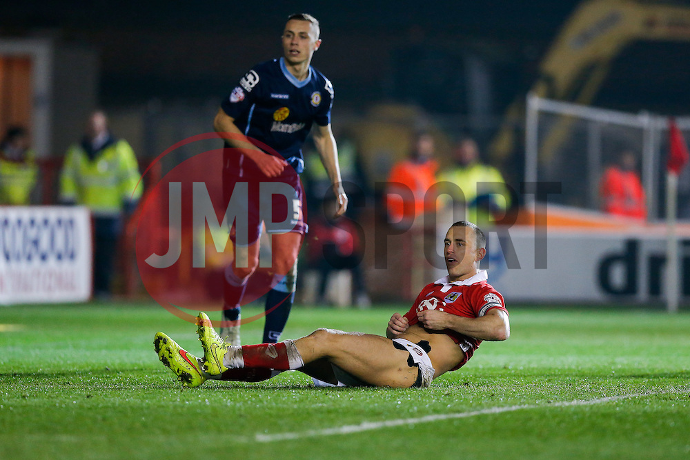 Aaron Wilbraham of Bristol City recovers from a slide - Photo mandatory by-line: Rogan Thomson/JMP - 07966 386802 - 17/03/2015 - SPORT - FOOTBALL - Bristol, England - Ashton Gate Stadium - Bristol City v Crewe Alexandra - Sky Bet League 1.